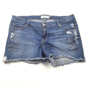 TORRID Cut Offs Distressed Mid Rise Jean Shorts